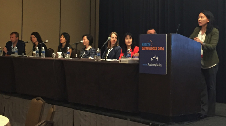 NCI Biomedical Informatics Program Manager, Dr. Elizabeth Hsu, begins the Datapalooza 2016 panel on the pilot efforts to connect across agencies.