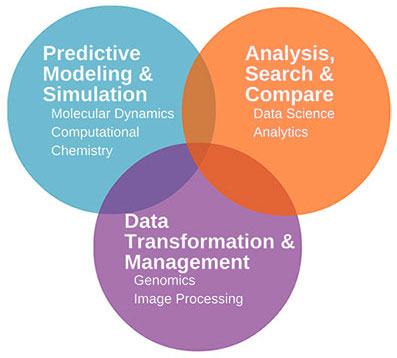 Venn diagram with three overlapping circles. Circle 1: Predictive Modeling & Simulation (Molecular Dynamics, Computational Chemistry). Circle 2: Analysis, Search & Compare (Data Science, Analytics). Circle 3: Data Transformation & Management (Genomics, Image Processing).