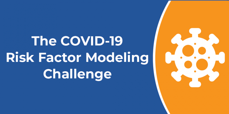 "Illustration that depicts a COVID-19 virus cell on the right, and the challenge title ""The COVID-19 Risk Factor Modeling Challenge"" on the left."