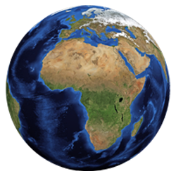 Graphic of planet Earth with the continent of Africa as the focal point