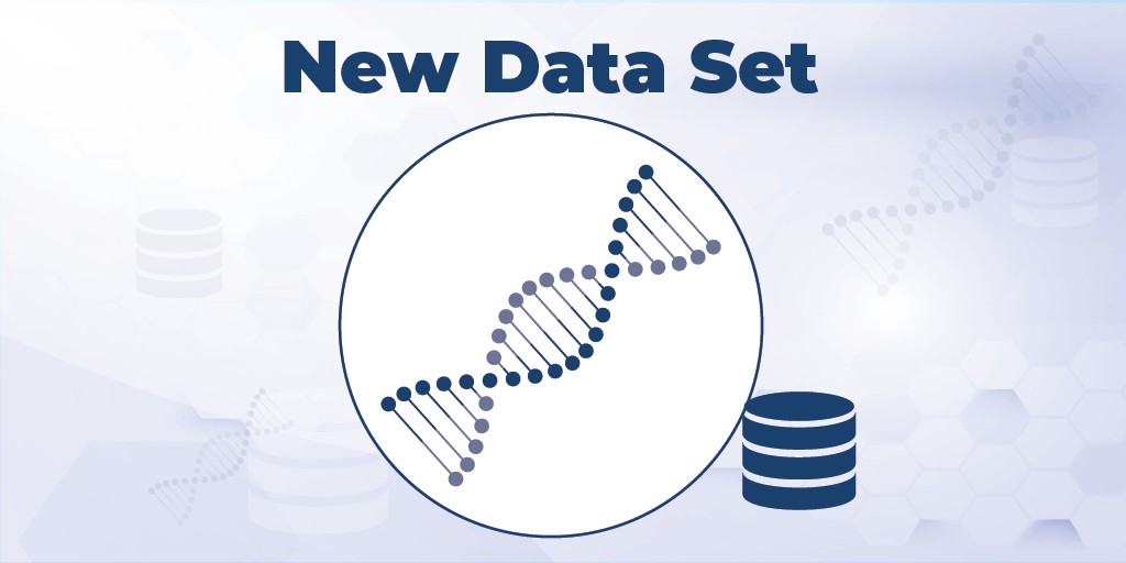 "Illustration of DNA strand coupled with server stack icon. Title of the illustration reads ""New Data Set."""