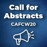 "Illustration of a microphone with text above it that reads ""Call for Abstracts CAFCW20"""