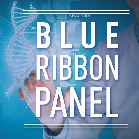 "Illustration of researcher in lab coat ""accessing"" a hologrpahic DNA strand. Text in the foreground reads ""Blue Ribbon Panel."""