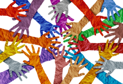 Illustrated outreached hands overlapping and intersecting each other, comprised of different colors.