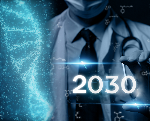 Abstract image of DNA strand off to the left with a doctor or scientist off to the right, wearing a face mask, tie, lab coat, stethoscope around the neck, and holding a placard reading 2030.