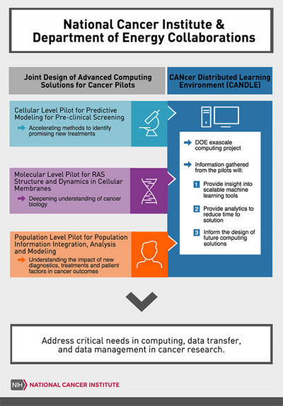 The Joint Design of Advanced Computing Solutions for Cancer (JDACS4C) program is a cross-agency collaboration between the National Cancer Institute and the Department of Energy. There are three research pilots: Molecular Level: Improving Outcomes for RAS-related Cancers, Cellular Level: Predictive Modeling for Pre-Clinical Screening, and Population Level: Population Information Integration, Analysis, and Modeling for Precision Surveillance. Together with the exascale CANcer Distributed Learning Environment
