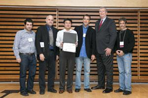 Team CGR receives award in the HPN-2013 Dream8 prize ceremony: Julio Saez-Rodriguez, EMBL, UK; Dan Gallahan, NCI; Chunhua Yan, NCI; Daoud Meerzaman, NCI; Mark Wagar, President, Heritage Medical Systems; and Gustavo Stolovitzky, IBM and Dream founder.