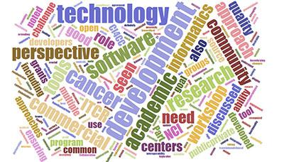 Word cloud of data science terms, key words include: development, academic, informatics, software, cancer, technology, perspective, community, approach, quality, workshop, need, NCI, centers, commercial, discussed, ITCR, role, good, challenge, approaches, program, common.