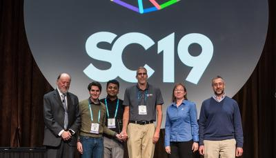 "SC19 Winners of Best Paper for modeling cancer-causing protein interactions. Paper is titled: ""Massively Parallel Infrastructure for Adaptive Multiscale Simulations: Modeling RAS Initiation Pathway for Cancer."""