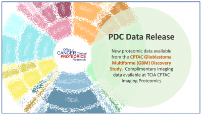 PDC Data Release. New proteomic data available from the CPTAC Glioblastoma Multiforme (GBM) Discovery Study. Complimentary imaging data available at TCIA CPTAC Imaging Proteomics.