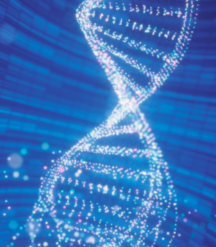 Computer-generated image of digitized DNA strand dissolving within a blue tile-covered space