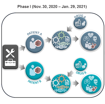 Depiction of the first phase for conducting the COVID-19 Precision Immunology App-a-thon. Phase 1 willl take place from November 30, 2020 - January 29, 2021.