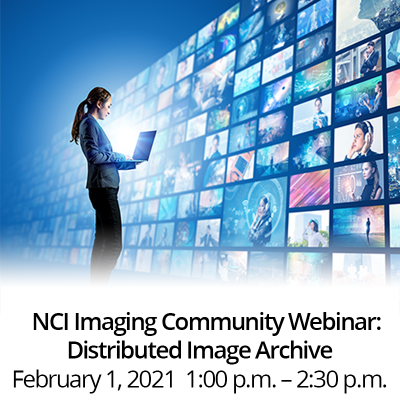 NCI Imaging Community Webinar: Distributed Image Archive. February 1, 2021, 1:00 p.m. - 2:00 p.m. Picture of a woman looking at a gallery of images.