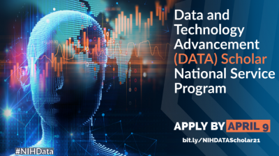 "Illustration of digitized human face with depictions of scatter plots running horizontal through the image. Text reads, ""Data and Technology Advancement (DATA) Scholar National Service Program. Apply by April 9."""